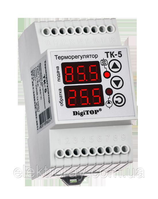 Терморегулятор ТК-5 двухканальный цифровой DIN-рейка DigiTOP