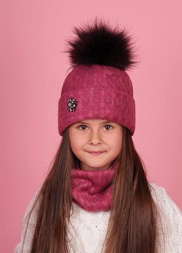Детская зимняя шапка (набор) для девочек ФУМИЯ оптом размер 50-52-54