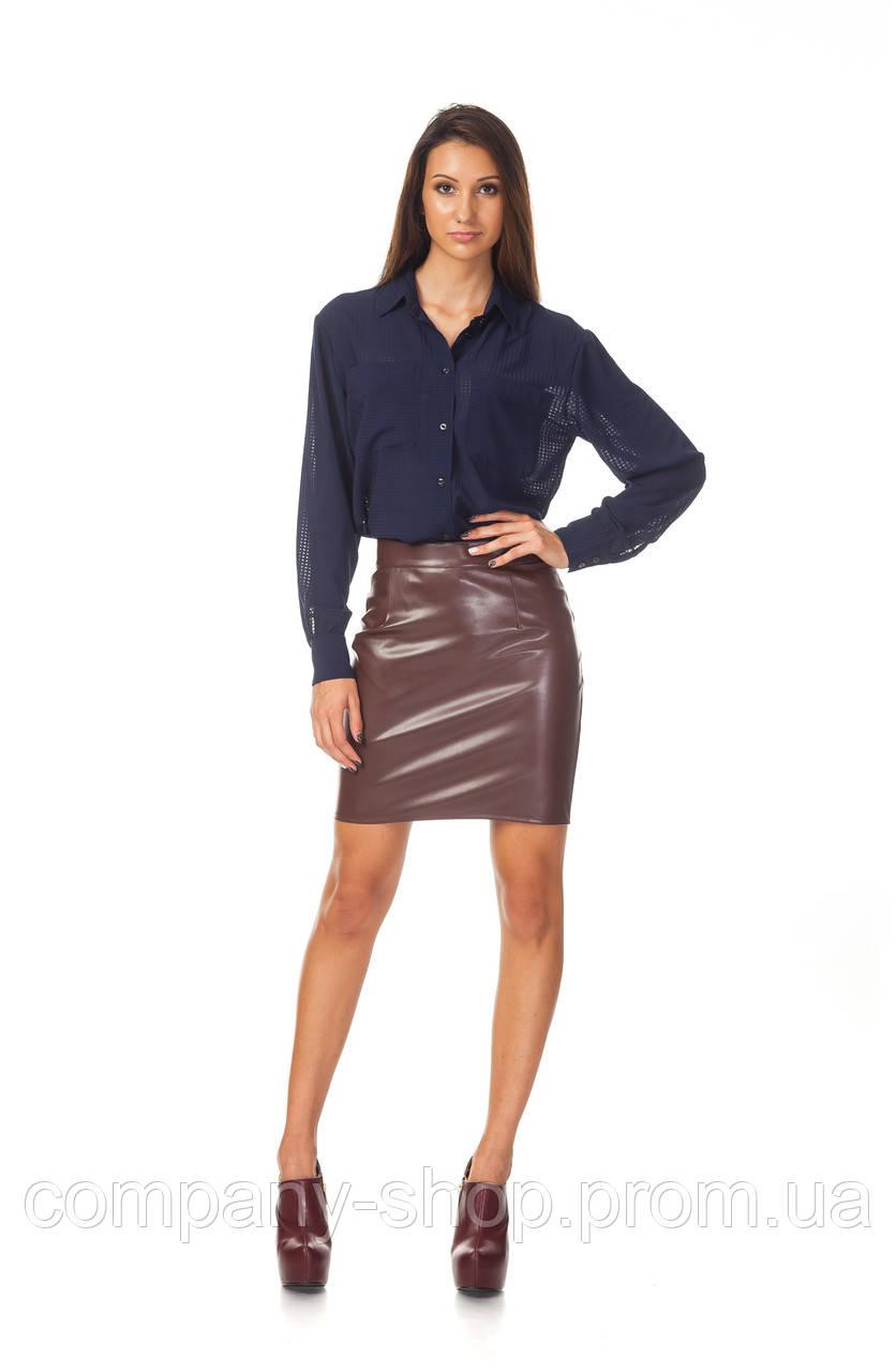 Офисная юбка оптом. Модель Ю096_кожа коричневая