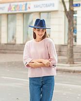 Женская осенняя шляпа синяя, фото 3