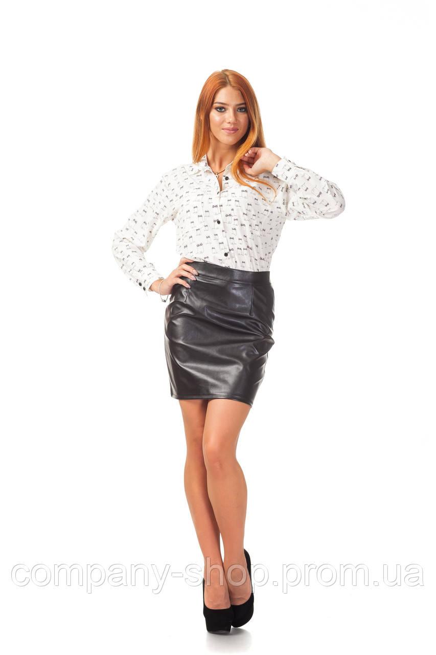 Офисная юбка оптом. Модель Ю096_кожа черная