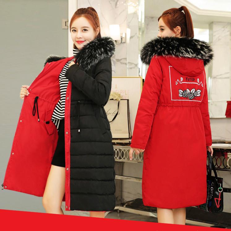Двусторонняя длинная куртка-парка Красный+черный