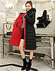 Двусторонняя длинная куртка-парка Красный+черный, фото 3