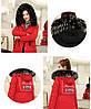 Двусторонняя длинная куртка-парка Красный+черный, фото 10