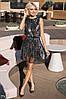 Блискуча коротка вечірня сукня з бісеру та паєток  чорно-срібляста розмір 44 46 48