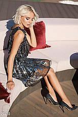 Блискуча коротка вечірня сукня з бісеру та паєток  чорно-срібляста розмір 44 46 48, фото 3