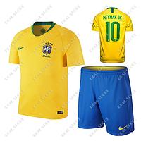 Детская футбольная форма Сборной Бразилии ЧМ 2018, Неймар №10. Основная