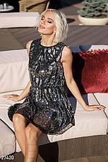 Блискуча коротка вечірня сукня з бісеру та паєток  чорно-срібляста розмір 44 46 48, фото 2