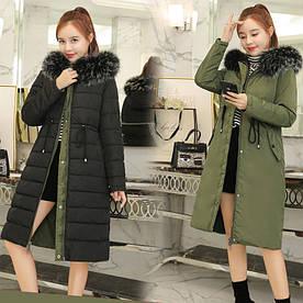 Двусторонняя длинная куртка-парка Черный+хаки