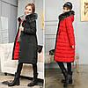 Двусторонняя длинная куртка-парка Черный+красный, фото 2
