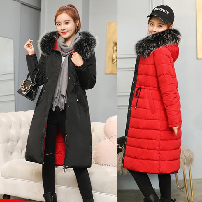 Двусторонняя длинная куртка-парка Черный+красный