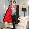 Двусторонняя длинная куртка-парка Черный+красный, фото 4
