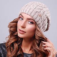 Вязаная бежевая женская шапка