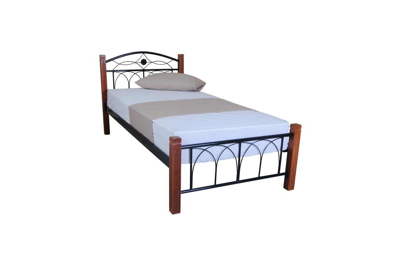 Кровать Элизабет односпальная 90*200/190, металл + дерево