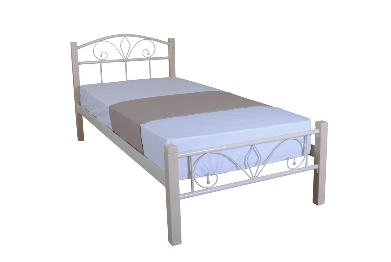Кровать Лара Люкс Вуд односпальная, металл + дерево