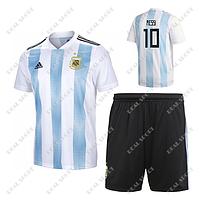 Детская футбольная форма Сборной Аргентины ЧМ 2018, Месси №10. Основная форма