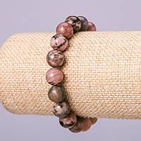 Браслет из натурального камня Родонит шарик d-12мм обхват 18см на резинке