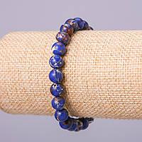 Браслет из натурального камня Варисцит (пресс) синий шарик d-8мм обхват 18см на резинке
