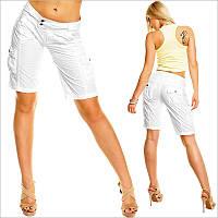 Белые женские бриджи шорты с карманами