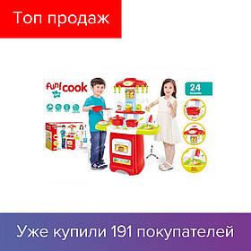 Детская игровая кухня Fun Cook 889-52-53 плита посуда продукты звук свет