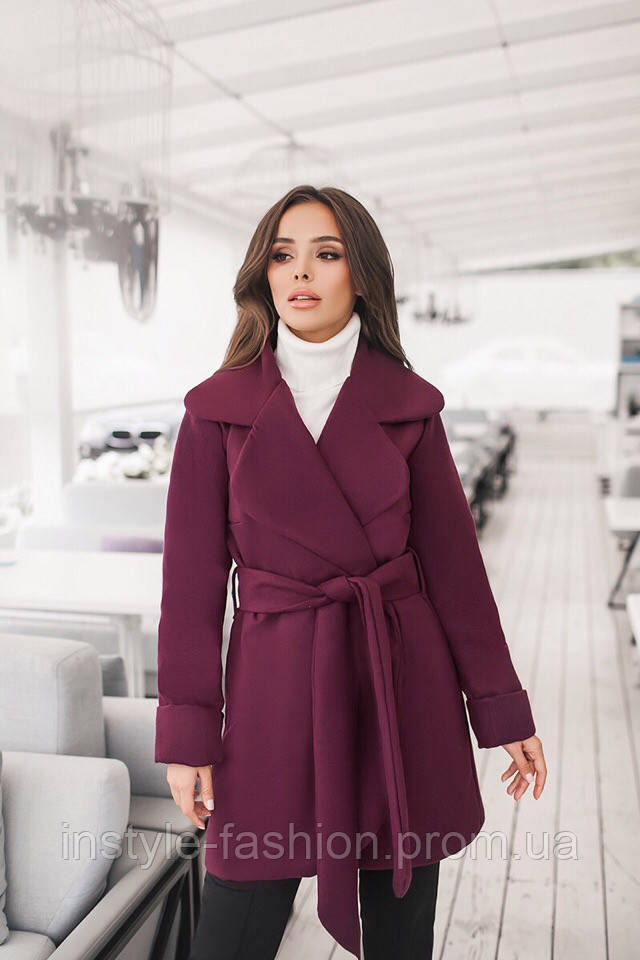 Короткое кашемировое демисезонное пальто на подкладке до 48 размера цвет бордовый, фото 1