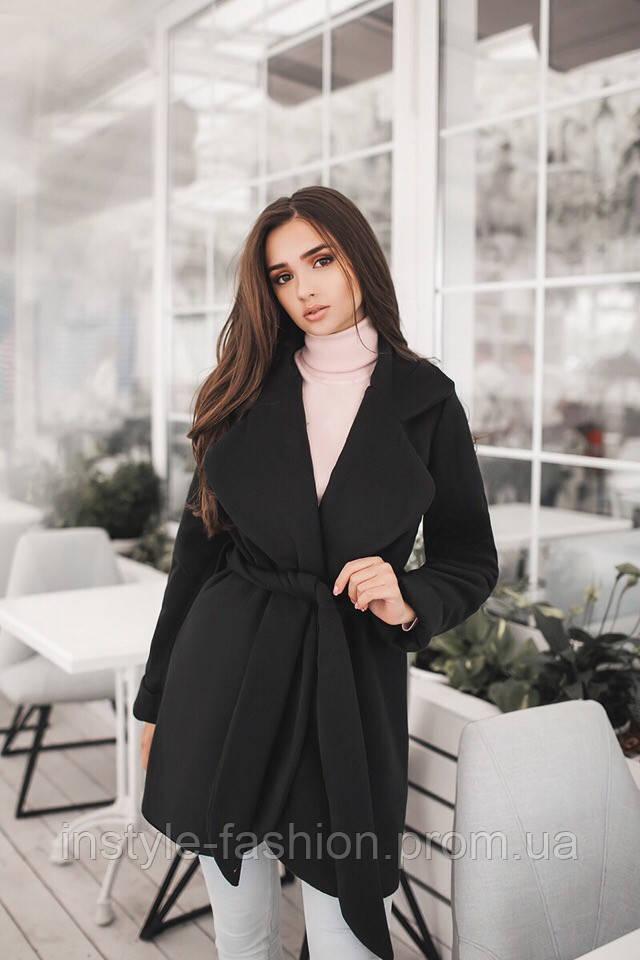 Короткое кашемировое демисезонное пальто на подкладке до 48 размера цвет черный