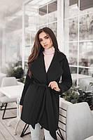Короткое кашемировое демисезонное пальто на подкладке до 48 размера цвет черный, фото 1