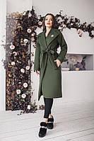 Женское кашемировое демисезонное пальто Шанель на подкладке цвет хаки