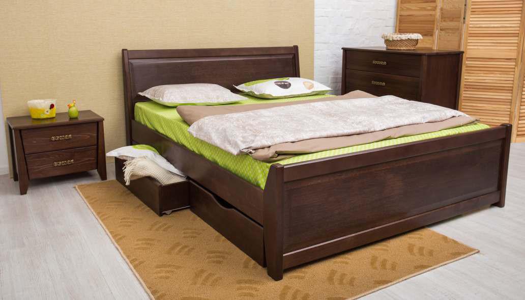 Кровать двуспальная деревянная  с ящиками (интарсия) Сити Микс мебель, цвет на выбор