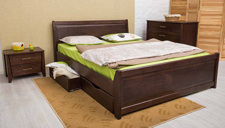 Кровать двуспальная деревянная  с ящиками (интарсия) Сити Микс мебель, цвет на выбор, фото 2