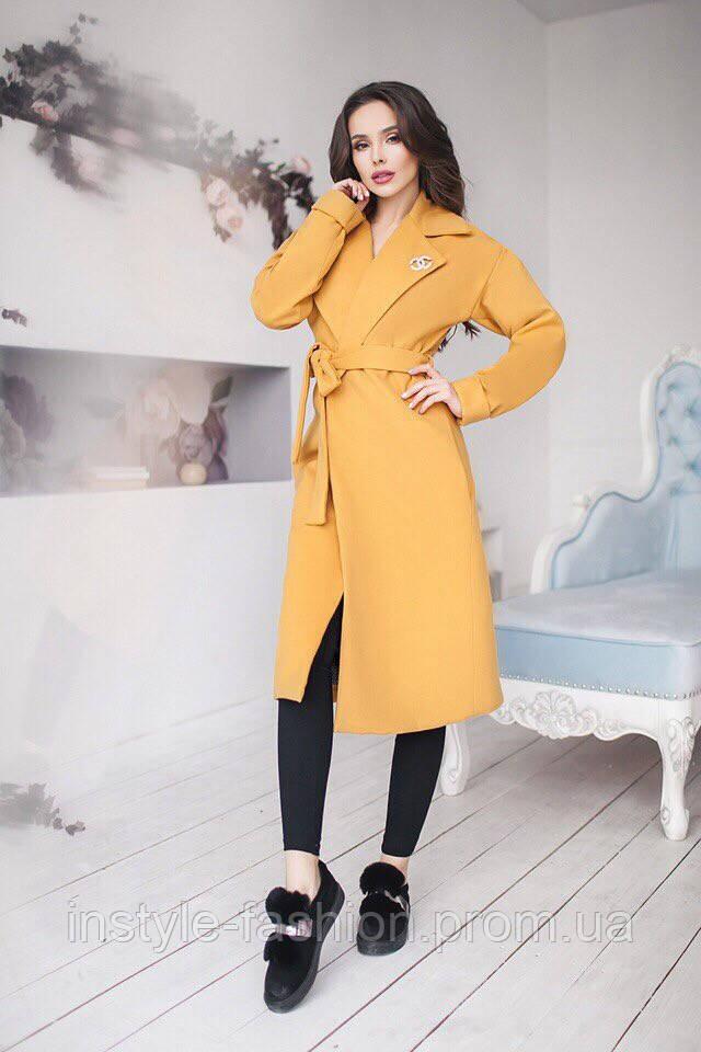 Женское кашемировое демисезонное пальто Шанель на подкладке цвет горчица