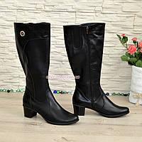Женские классические кожаные сапоги на невысоком каблуке. Батал