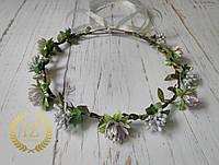 Серебряный венок на голову с цветами и листочками ручная работа
