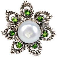 Серебряное Кольцо с Натуральными Хромдиопсидами и Жемчугом