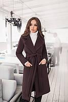 Женское пальто на поясе, кашемир на подкладке, размер 42-46