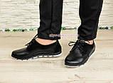 Женские туфли на шнуровке, из натуральной кожи и замши черного цвета, фото 3