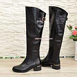 Ботфорты кожаные женские зимние на каблуке, черного цвета, фото 7