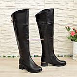 Ботфорты кожаные женские зимние на каблуке, черного цвета, фото 6