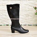 Женские классические кожаные сапоги на невысоком каблуке. Батал, фото 2