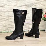 Женские классические кожаные сапоги на невысоком каблуке. Батал, фото 3