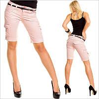 Розовые шорты женские с поясом средней длинны
