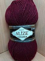 Полушерстяная пряжа (49%-шерсть,51%-акрил,100г/240м) Alize Lanagold 57(бордовый)