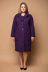 Фиолетовое прямое пальто для полных женщин Эстель
