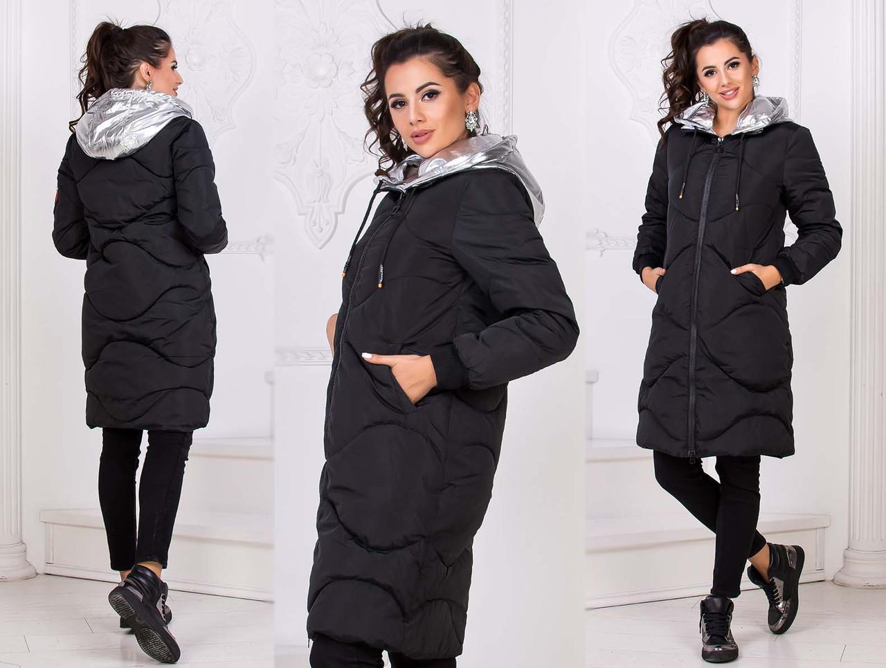 """Стильне жіноче зимове пальто тканини холлофайбер до великих розмірів """"Плащівка Капюшон Срібло"""""""