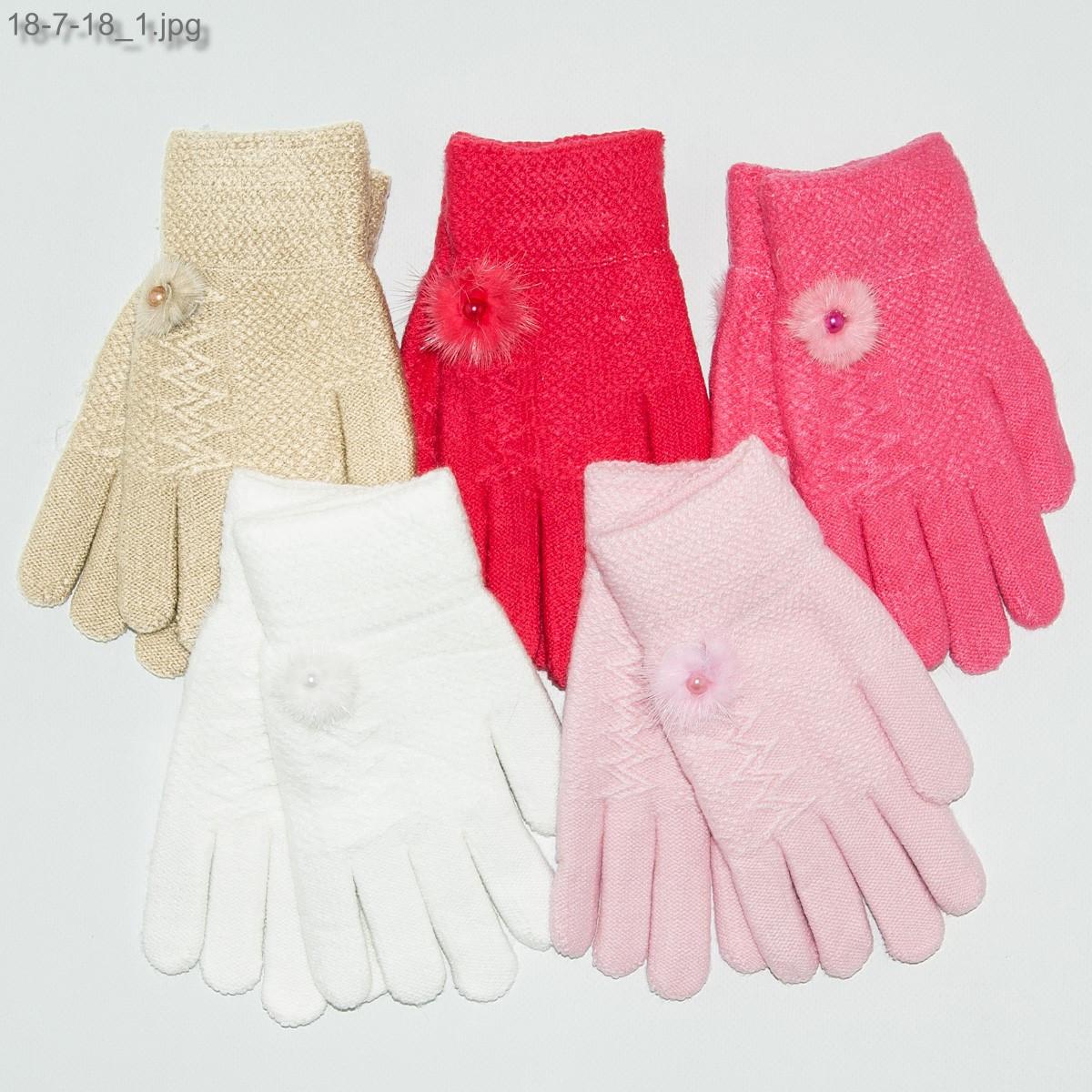 Оптом детские двойные перчатки на девочек 6-9 лет - №18-7-18