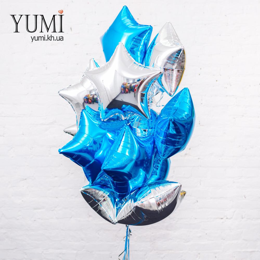 Связка 12 звёзд синих и серебряных для праздника