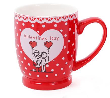 Кружка фарфоровая кофейная Валентинов день, 4 вида, 330мл (588-143)