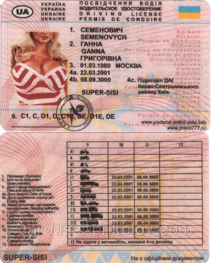 Водительское удостоверение Семенович