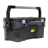 """Ящик STANLEY 24"""", 670x323x283мм, профессиональный, пластмассовый, открытый со съемным кейсом."""
