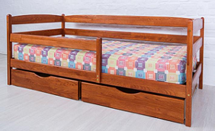 Детская кровать Ева с ящиками и боковой планкой Микс мебель, цвет орех